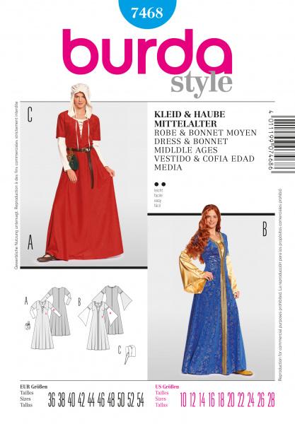 7468 Burda Middelalder kjole Stoffdronning.no