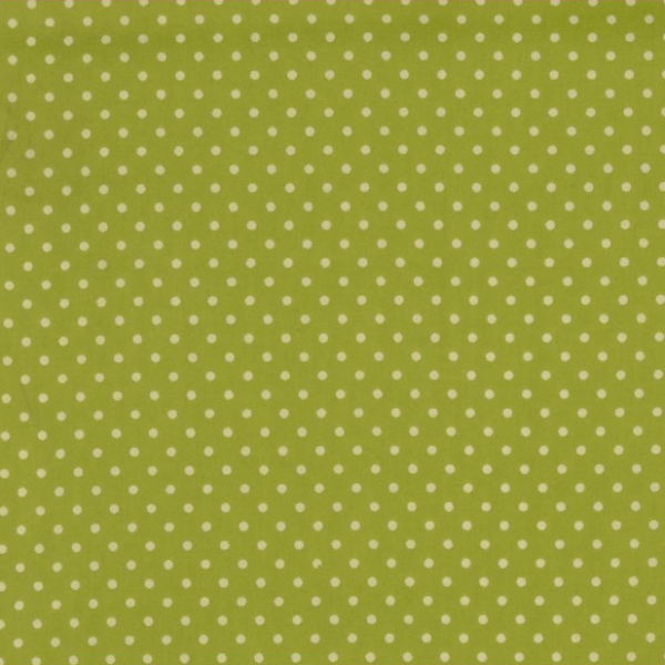 164dfe2b Tekstilvoksduk - 2 mm hvite prikker på limegrønn - Stoffdronning.no